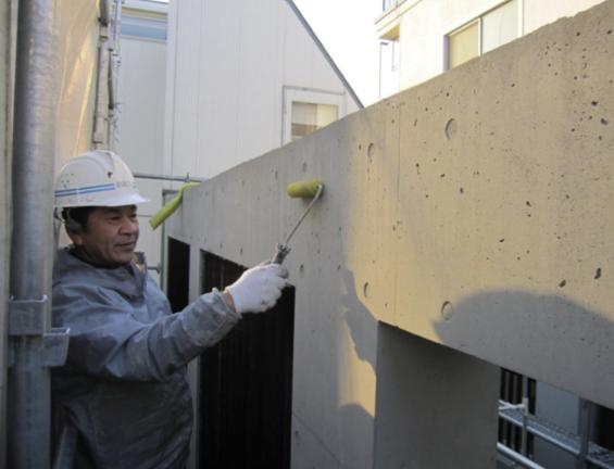 コンクリート打ちっぱなし仕上げの再生・保護工事 Sクリートガード8