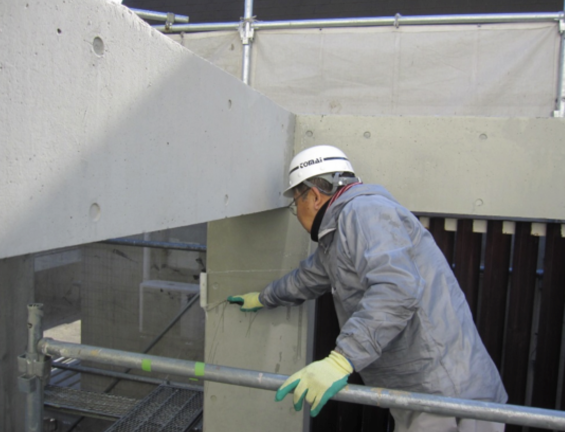 コンクリート打ちっぱなし仕上げの再生・保護工事 Sクリートガード9