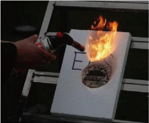 断熱材燃焼試験・ EPS断熱材 ガスバーナー着火 3秒間