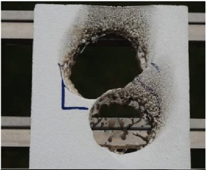 断熱材燃焼試験・ EPS断熱材 ガスバーナー着火 5秒間