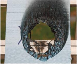 断熱材燃焼試験・ XPS断熱材 ガスバーナー着火 5秒間