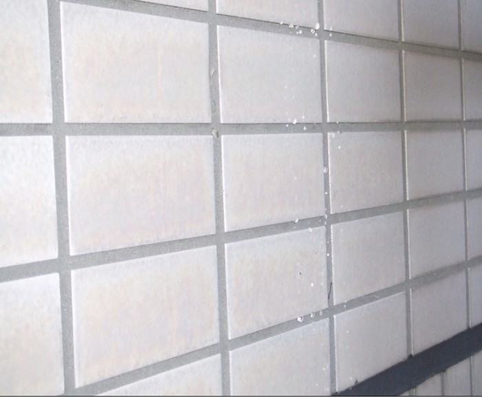 3.タイル部 ラスタ-タイル目地保護 Sクリ-トガ-ド 施工後 水洗浄後、塗装スプレ-ガンにて塗布施工